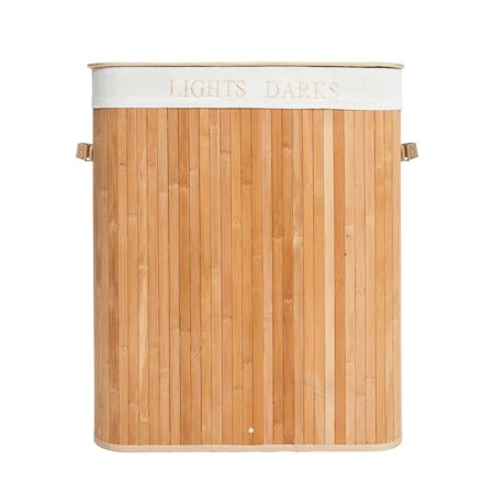 Zimtown 2 Sections Bamboo Laundry Hamper Basket Washing Clothes Storage Bin Sorter ()