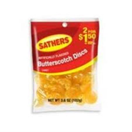 Sathers Butterscotch Disks 12 pack (3.6 oz per pack) (Pack of 3)