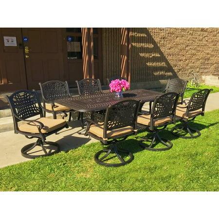 - Fleur De Lis Living Campion 9 Piece Sunbrella Dining Set with Cushions