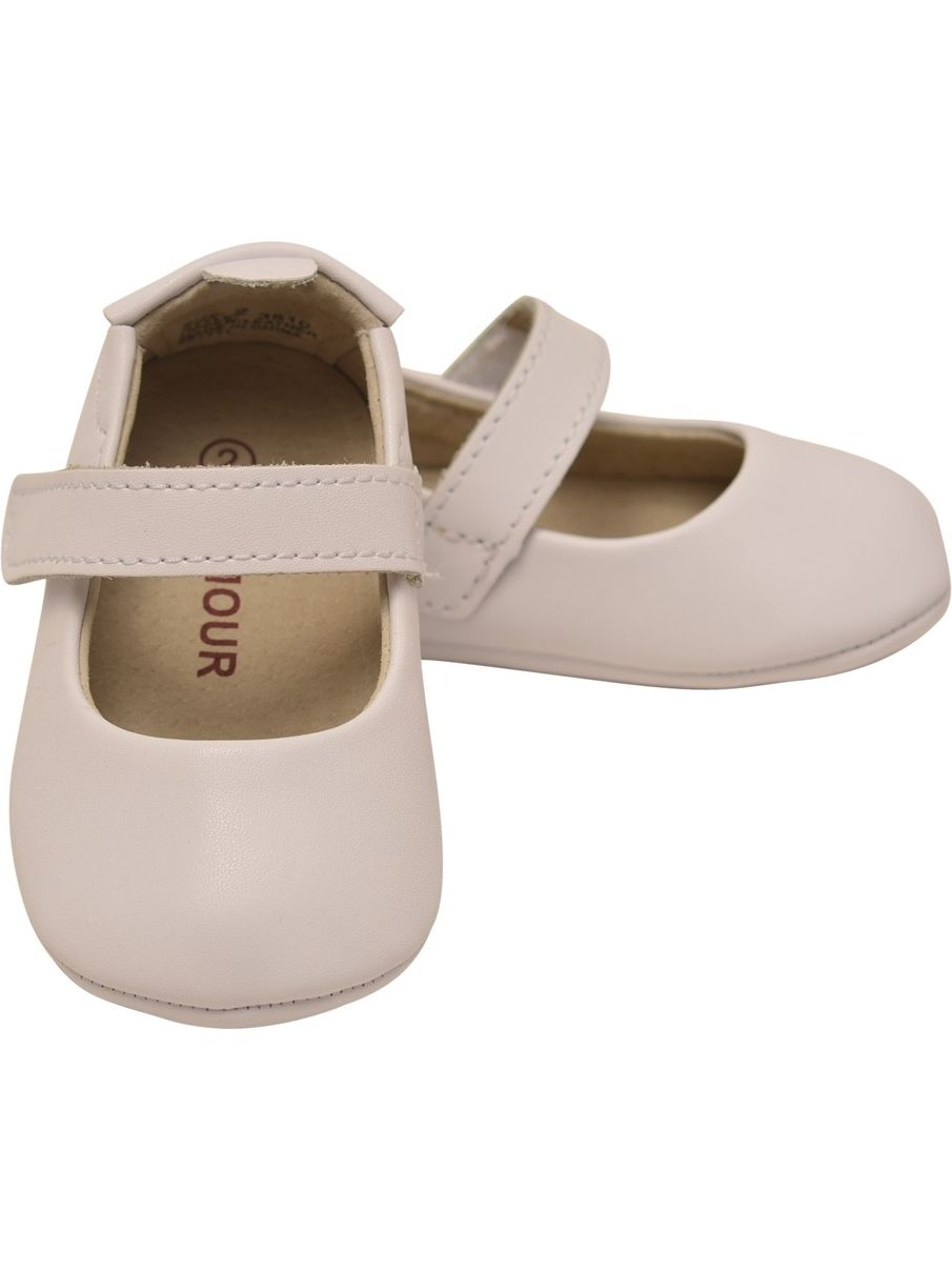 L/'Amour Girls White Open Heart Leather Crib Mary Jane Shoes 0 Baby-5 Toddler