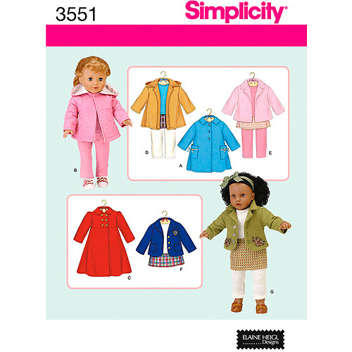 "Simplicity Pattern 18"" Doll Clothes"