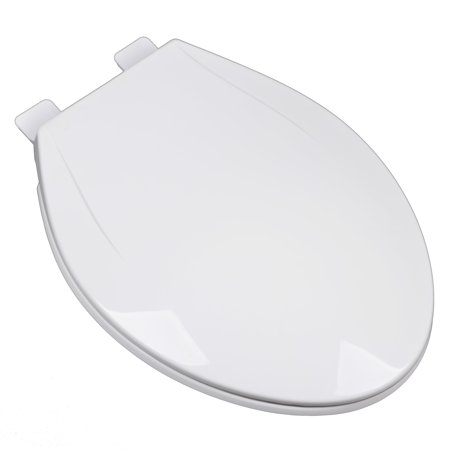 - BathDecor Slow Close Plastic Elongated Contemporary Design Toilet Seat with a Closed Front and Release 'N' Clean Hinge, Cotton White