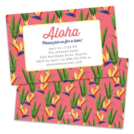 Personalized Tropical Orchids Party Invitation Tropical Invitation Paper