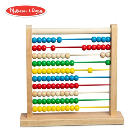 Melissa & Doug Abacus Classic Wooden Toy (Developmental Toy, Brightly-Colored Wooden Beads, 8 Extension (Row Abacus)