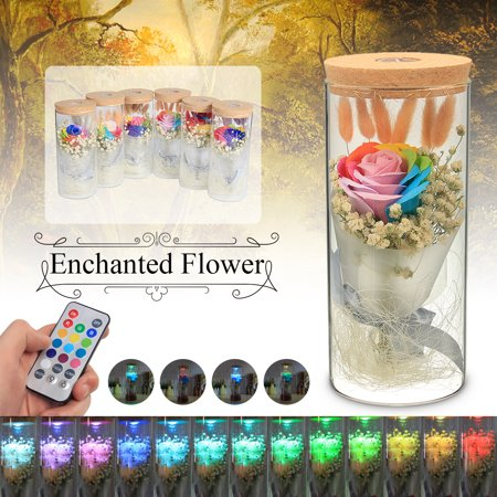 LED Eternal Flower Light Enchanted Rose Lamp Real Preserved Romantic Beauty Gift for Christmas Valentines Day Wedding Mother's Day Women - Mothers Day Pink Bat