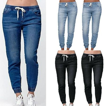 Multitrust Women Denim Jeans High Waist Stretchy Slim Fit Drawstring Elastic Trouser