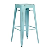 "Bristow 30"" Antique Metal Bar Stool, Antique Sky Blue, 4-Pack by Metal Bar Stools"