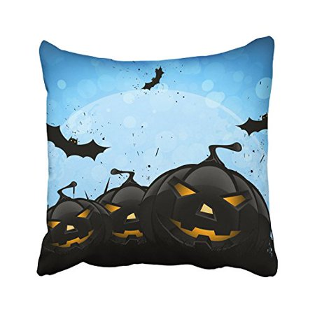 WinHome Halloween Scary Pumpkin Lights And Bats Big Moon Blue Decorative Pillowcases With Hidden Zipper Decor Cushion Covers Two Sides 20x20 inches