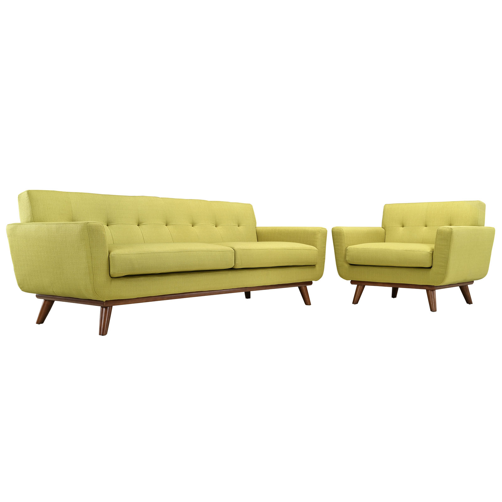 Modern Contemporary Living Room Armchair and Sofa Set of Two Green