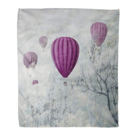 HATIART Throw Blanket Warm Cozy Print Flannel Fantasy Artistic of Pink Hot Air Balloons in The Clouds Fine Surreal Landscape Comfortable Soft for Bed Sofa and Couch 50x60 Inches - image 1 de 1