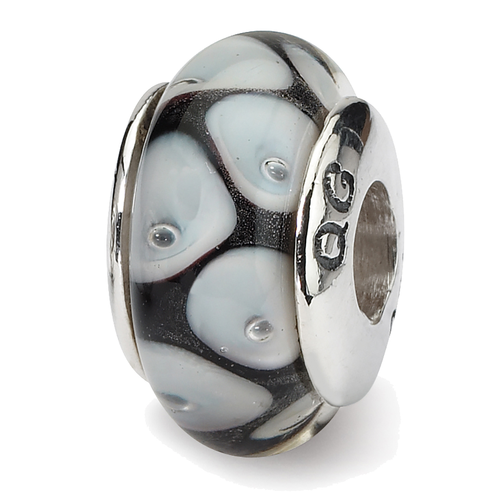 Sterling Silver Reflection Hand-Blown Glass Solid Bead