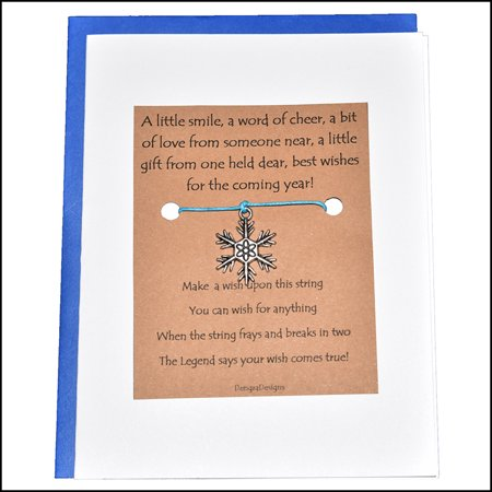 Thoughtful Greeting Card and Wish Bracelet Happy New Year with Snowflake Charm - Charmed (Best New Year Card Wishes)
