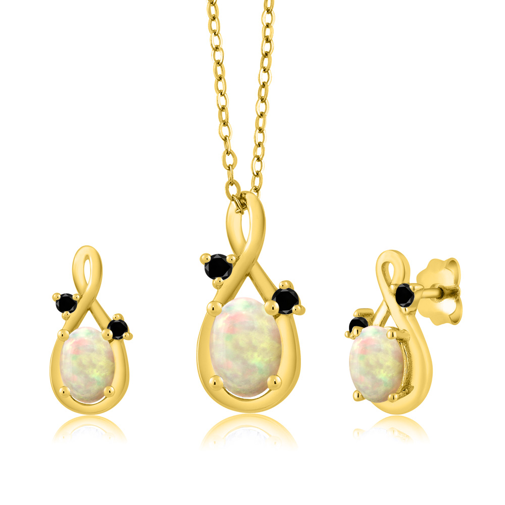 1.25 Ct Oval Cabochon White Ethiopian Opal 18K Yellow Gold Pendant Earrings Set by