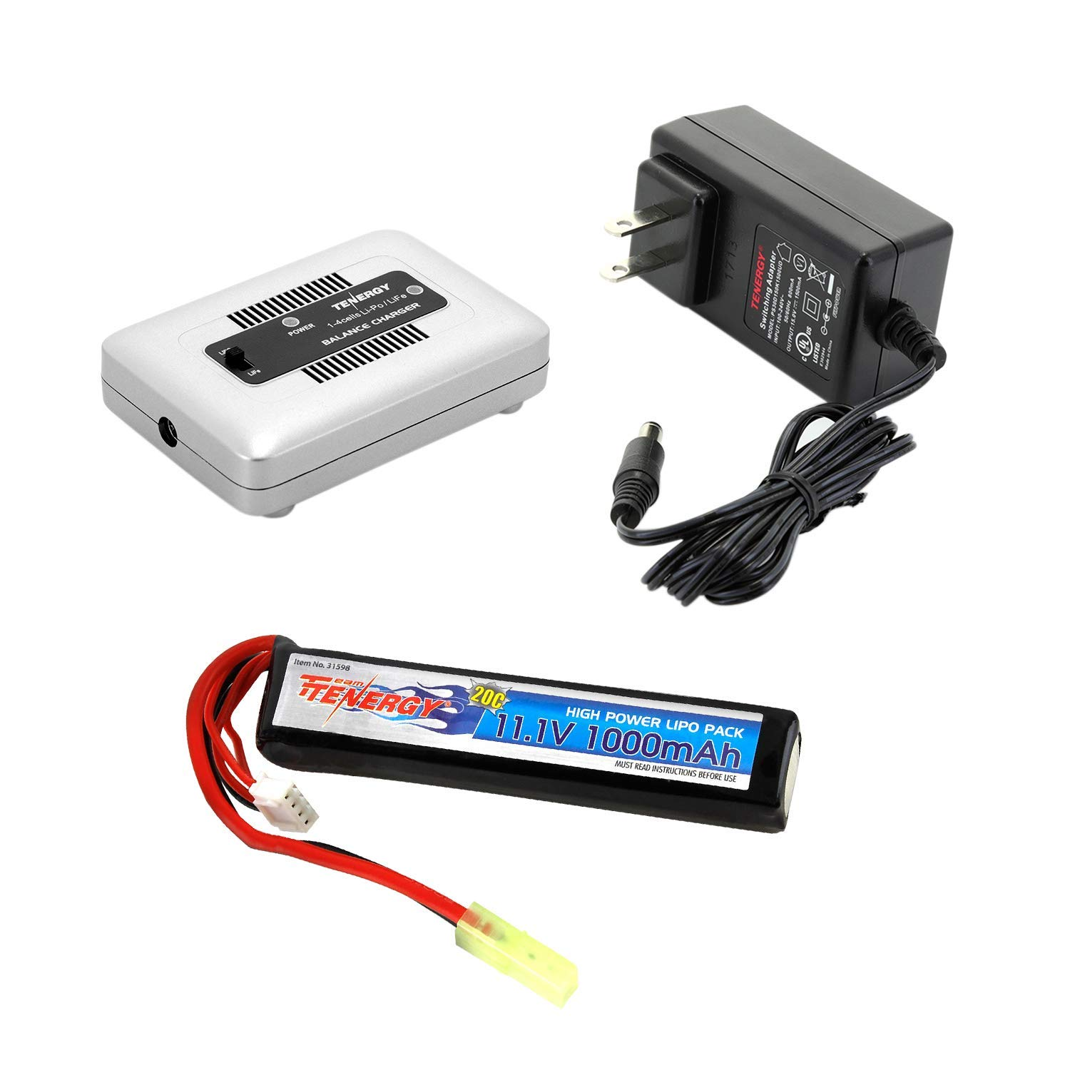 Tenergy Airsoft Battery 11.1V 1000mAh High Capacity LiPo Stick Battery Pack 20C High Discharge Rate Hobby Battery Pack for Airsoft Guns w/Mini Tamiya Connector + LiPo/LiFe Balance Charger 1-4 Cells
