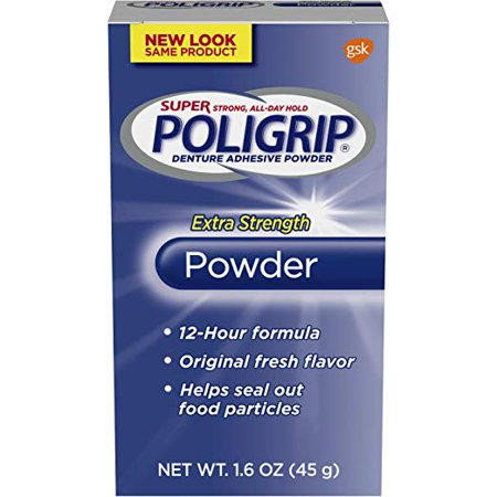 Extra Strength Adhesive - Super Poligrip Extra Strength 12h Denture Adhesive Powder 1.6 Ounce