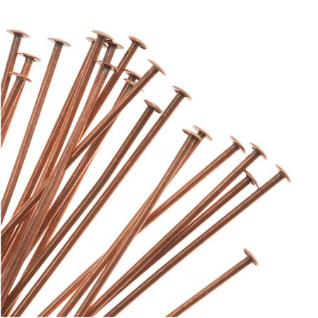 End Head Pin 24 Gauge - Genuine Antiqued Copper Head Pins 22 Gauge 2 Inches (24)