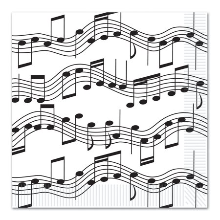 - Club Pack of 192 Black and White Musical Notes Disposable 2-Ply Beverage Napkins