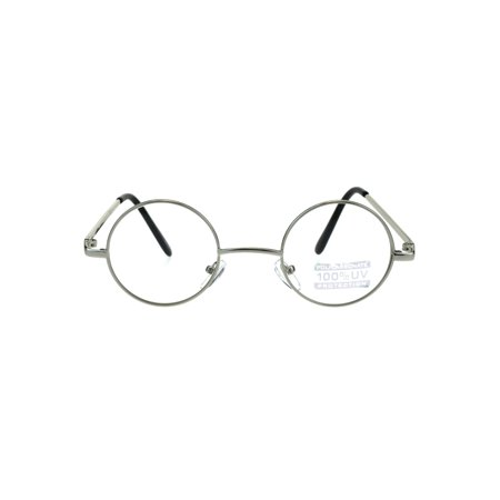 Snug Extra Small Clear Lens Metal Rim Hippie Eyeglasses Silver