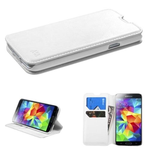 Insten White MyJacket Wallet Leather Protective Case with Tray For Samsung Galaxy S5 S V G900