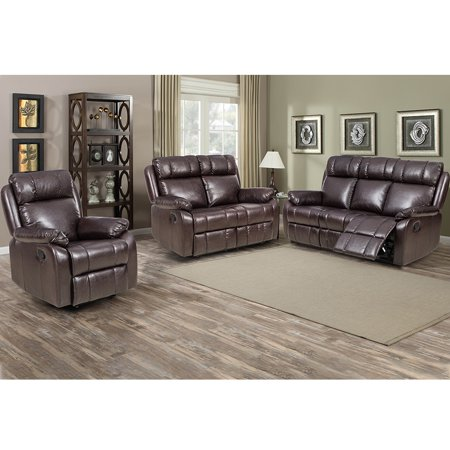 Loveseat Chaise Reclining Couch Recliner Sofa Chair Leather Accent Chair Set ()