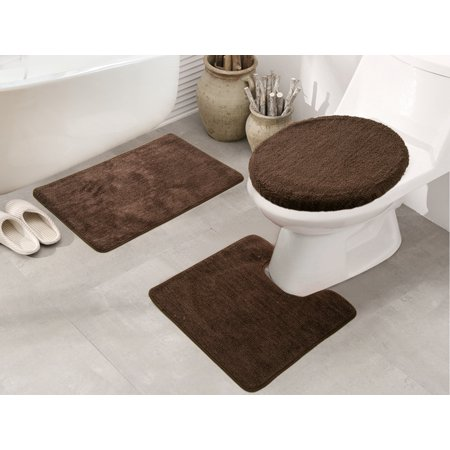 Royalty 3-Piece Bath Rug Set in Chocolate - Walmart.com