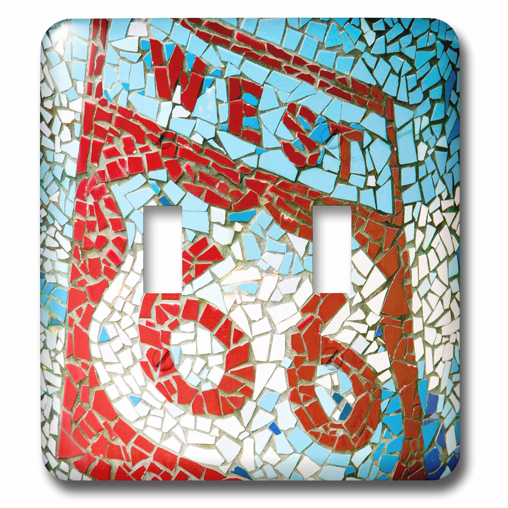 3dRose Joliet, Illinois, USA. Mosaic West Route 66 sign. Double Toggle Switch by 3dRose