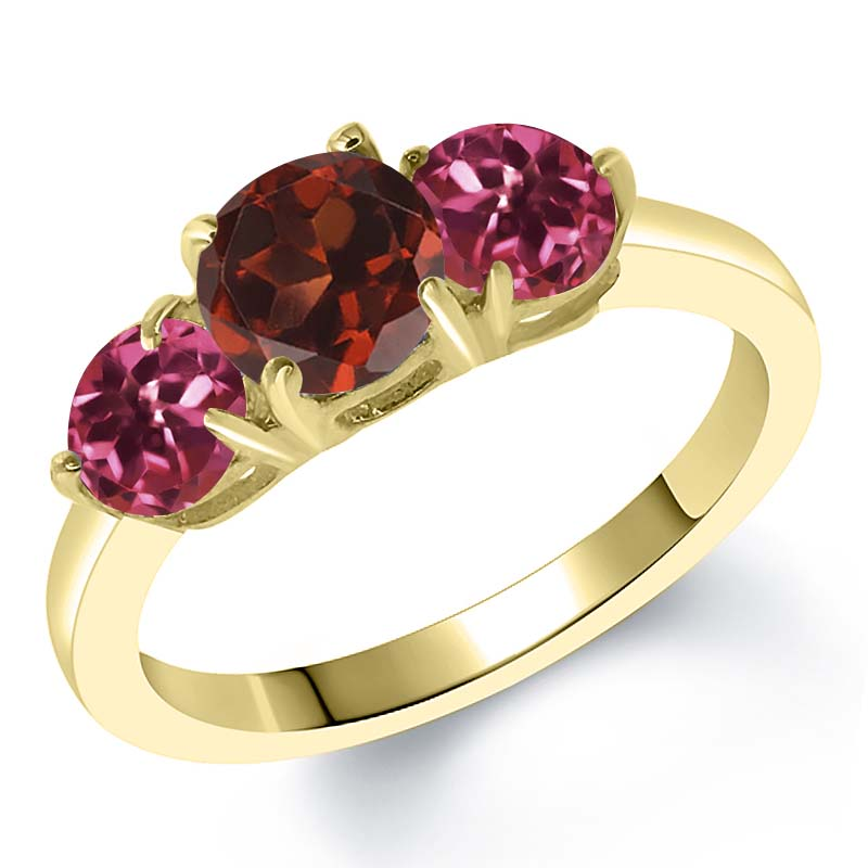2.00 Ct Round Red Garnet Pink Tourmaline 18K Yellow Gold Plated Silver Ring by