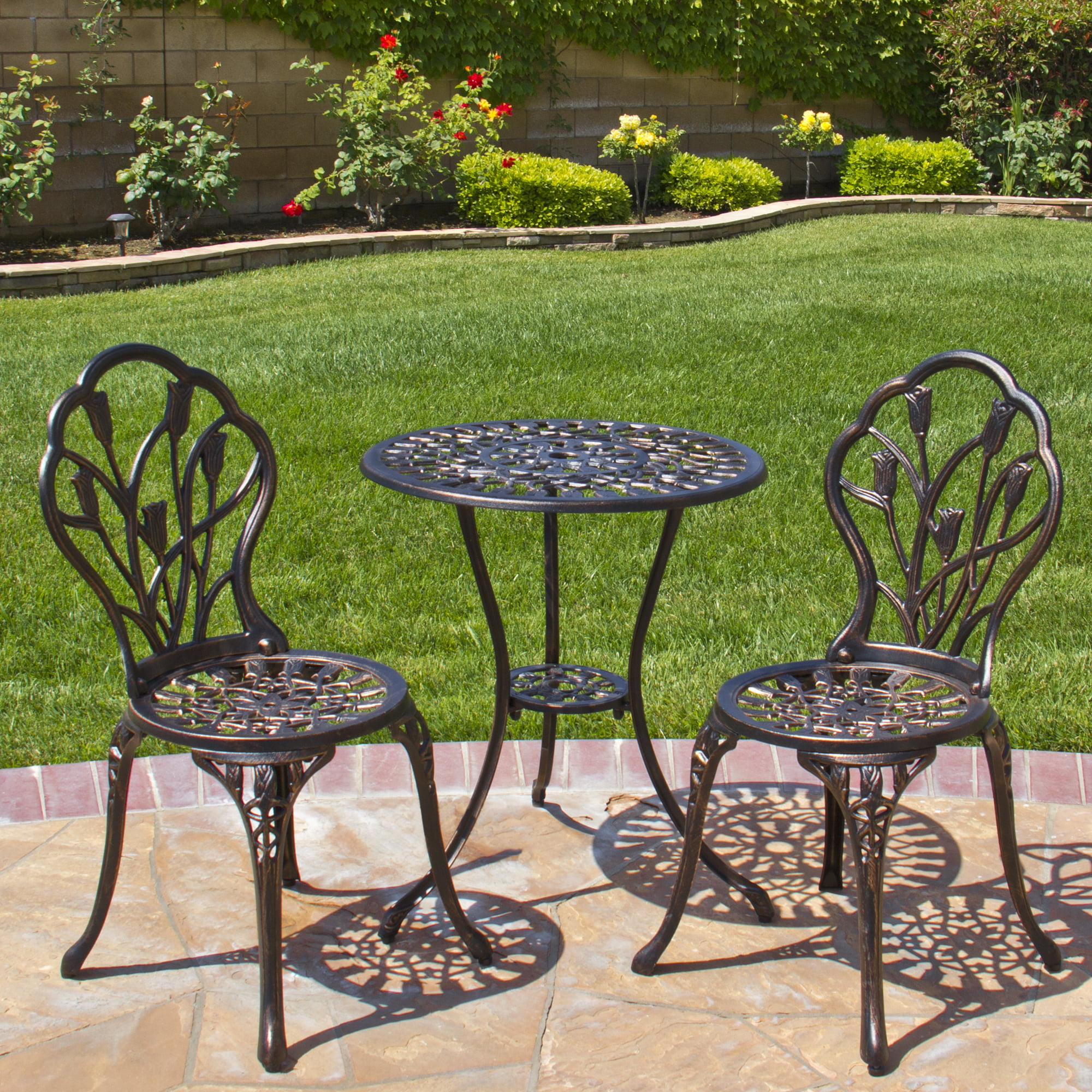 Best Choice Products Cast Aluminum Patio Bistro Furniture Set in Antique Copper by