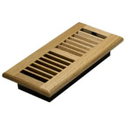 "Decor Grates 4"" x 10"" Oak Wood Natural Finish Louvered Design Floor Register"