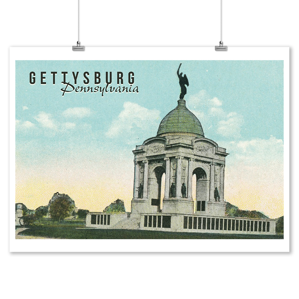 Gettysburg, Pennsylvania - Pennsylvania Monument - Vintage Archive Poster - Lantern Press Artwork (9x12 Art Print, Wall Decor Travel Poster)