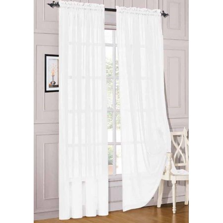 """2pc White Solid Sheer Voile Window Curtain Set, Two (2) Rod Pocket Panels 55""""W x 63""""L (Each)"""