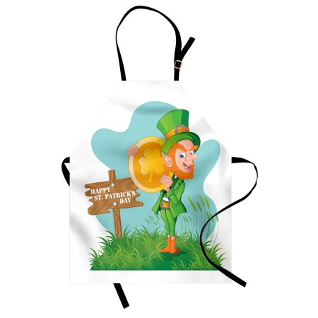 St. Patrick's Day Apron Festive Leprechaun with Costume Holding Large Shamrock Gold Coin on Hill, Unisex Kitchen Bib Apron with Adjustable Neck for Cooking Baking Gardening, Multicolor, by Ambesonne - Shamrock Costume