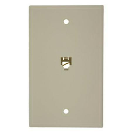Leviton Almond 4-Conductor 625B4 Flush Mount Phone Jack Wallplate 6P4C 40949-A
