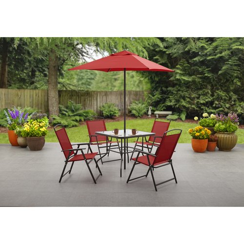 Mainstays Albany Lane 6 Piece Dining Set Red Walmart Com
