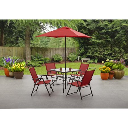 mainstays albany lane 6 piece dining set red. Black Bedroom Furniture Sets. Home Design Ideas