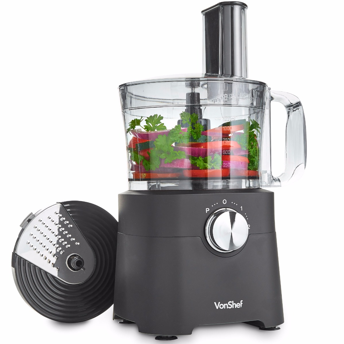 VonShef 500W 8 Cup Food Processor – Blender, Chopper, Multi Mixer Combo with Chopping Blade & Shredder Attachments