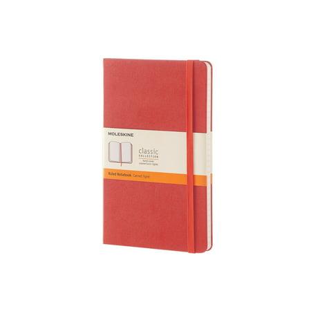 Moleskine Classic Ruled Large Notebook, Hard Cover, Coral Orange, 5 x 8.25 in. (Orange Notebook)