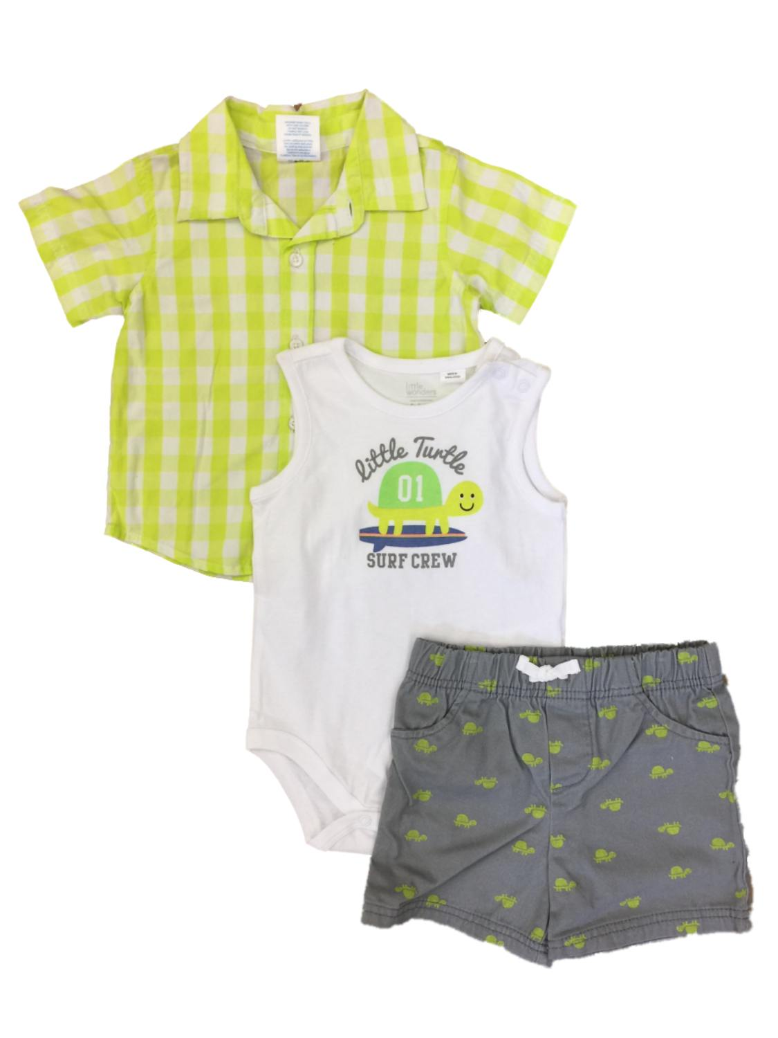 Infant Boys 3PC Baby Outfit Surfs Up Bodysuit Blue Plaid Shirt /& Shorts