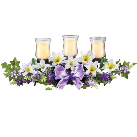 Lily Centerpiece with Lavender and Greenery Accents - Holder Includes Three Glass Hurricane Candle Holders - Lavender Centerpieces