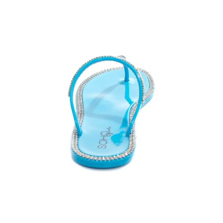 745b4058943c Soho Shoes - Soho Shoes Ladies Jelly Slip On T-Strap Flat Sandals with  Gemstones - Walmart.com