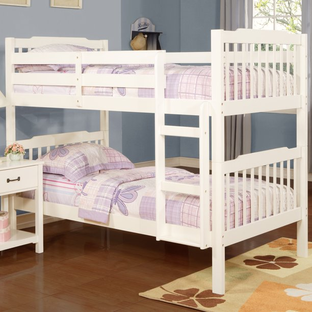 Chelsea Lane Elise Convertible Twin Over Twin Wood Bunk Bed, White