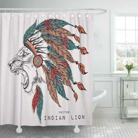 PKNMT Red Native Lion in The Colored Roach Feather Headdress of Eagle American Hat Shower Curtain Bath Curtain 66x72 inch