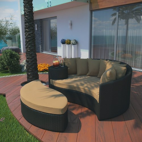 Brayden Studio Greening Outdoor Daybed with Ottoman & Cushions