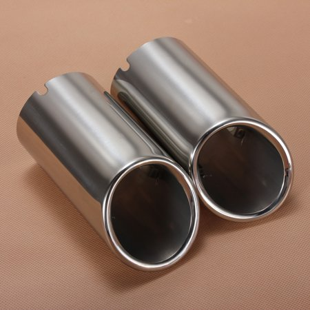 2Pcs Car Stainless Steel Chrome Exhaust Tail Rear Muffler Tip Pipe For Audi A4 B8 Q5 2009 2010 2011 2012 - image 3 of 7