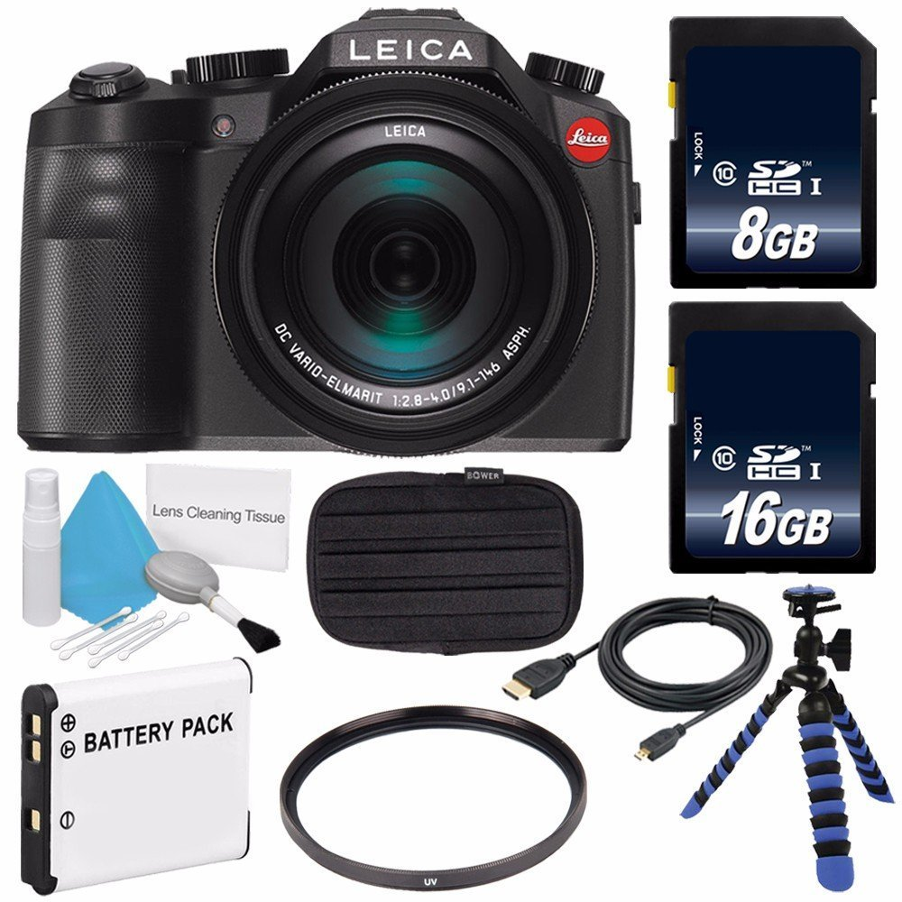 Leica V-LUX (Typ 114) Digital Camera (International Model no Warranty) + Replacement Lithium Ion Battery + Flexible Tripod with Gripping Rubber Legs + Mini HDMI Cable Bundle 23