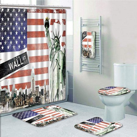 EREHome NYC Collage with Famous Monuments Wall Street Manhattan Urban Display 5 Piece Bathroom Set Shower Curtain Bath Towel Bath Rug Contour Mat and Toilet Lid Cover - image 1 of 2