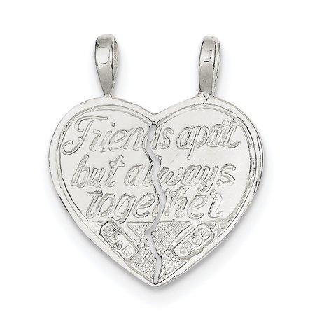 Sterling Silver Best Friend 2-piece break apart Heart Charm QC607 (27mm x 11mm) - image 3 de 3