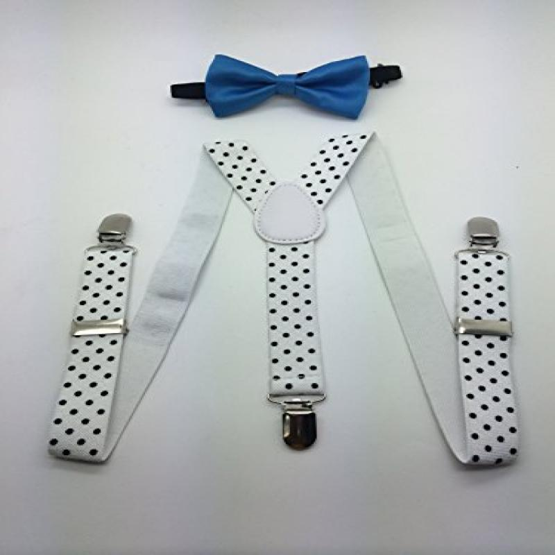 Boys Girls Bow Tie Suspender (Baby Blue)