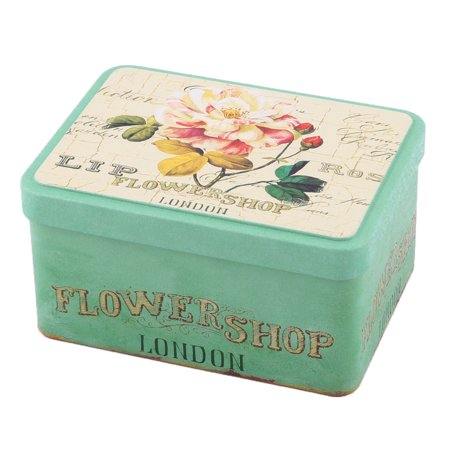 Family Metal Floral Pattern Postcard Candy Collection Box Storage Green Yellow ()