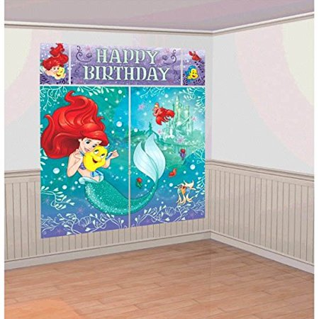 Disney Little Mermaid Princess Ariel Dream Big Kids Party Scene Setter Wall Decorations Kit